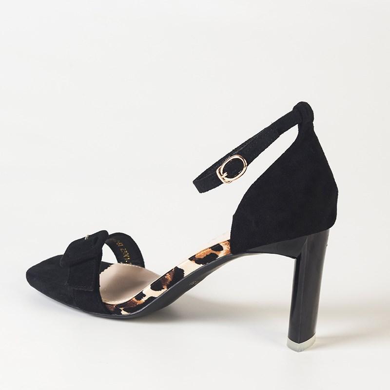 金苑夏季新款露脚趾黑色高跟鞋凉鞋S921022