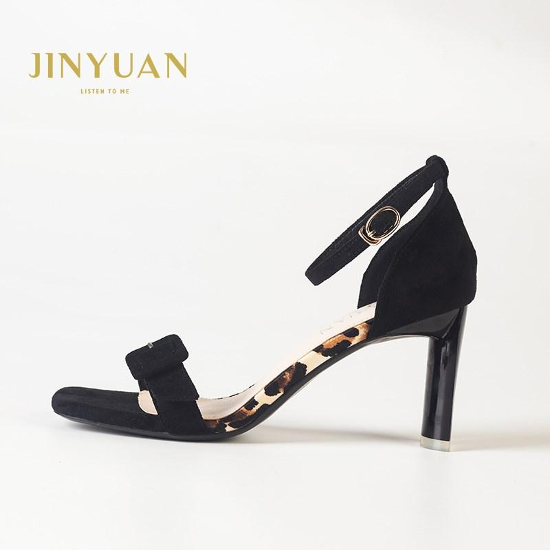 金苑夏季新款露脚趾黑色高跟鞋凉鞋S921021