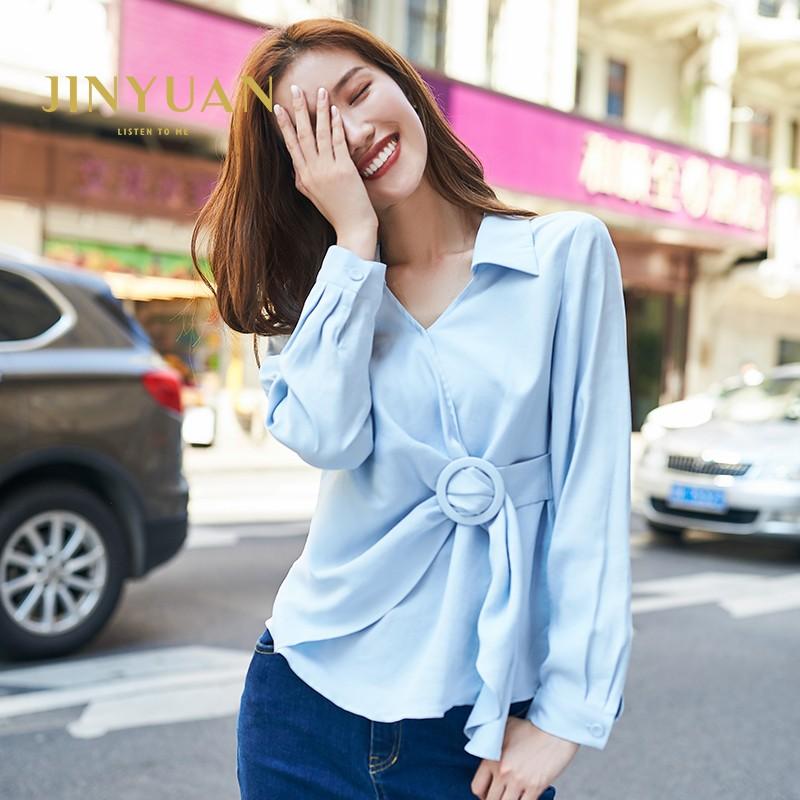金苑女装2019秋新款设计感上衣洋气V领气质韩版雪纺衬衫女A931351