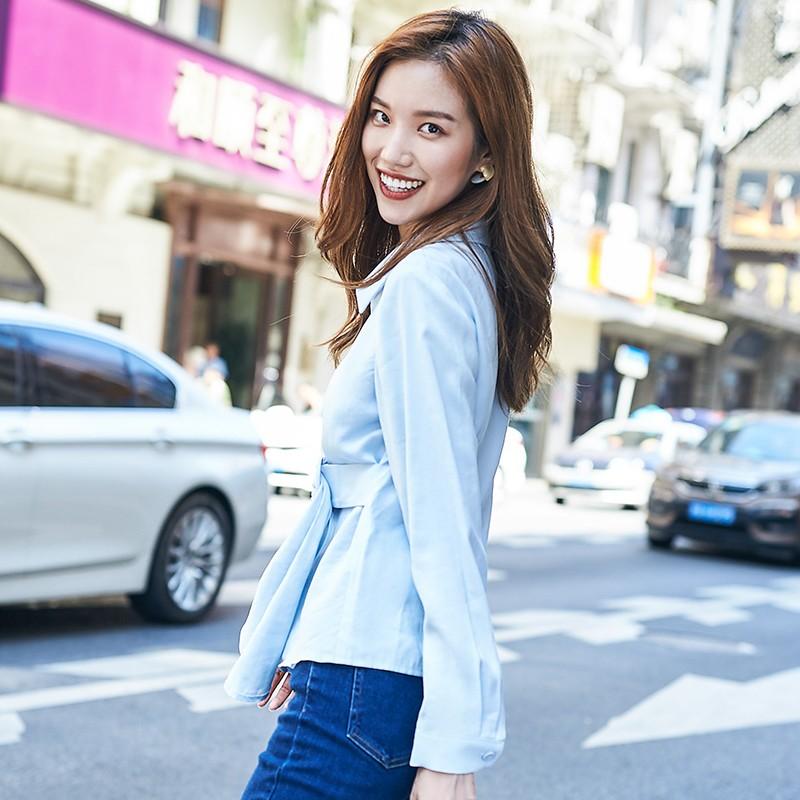 金苑女装2019秋新款设计感上衣洋气V领气质韩版雪纺衬衫女A931353
