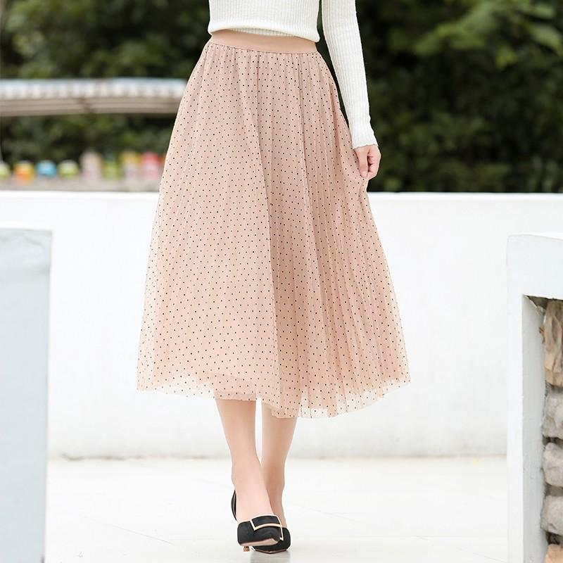 金苑半身裙女2019秋新品甜美网纱拼接波点裙优雅半身裙女B931204