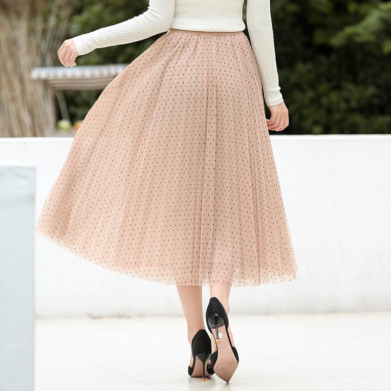 金苑半身裙女2019秋新品甜美网纱拼接波点裙优雅半身裙女B931203