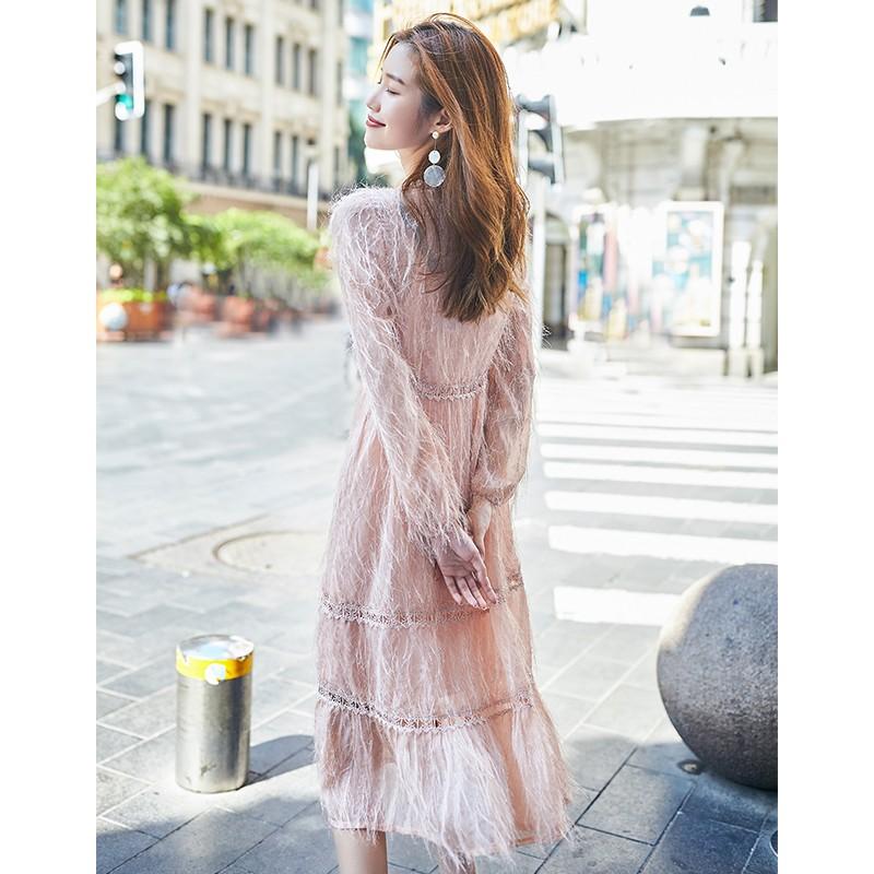 金苑女装2019秋新款蕾丝流苏中裙优雅甜美气质仙纯色连衣裙G931223