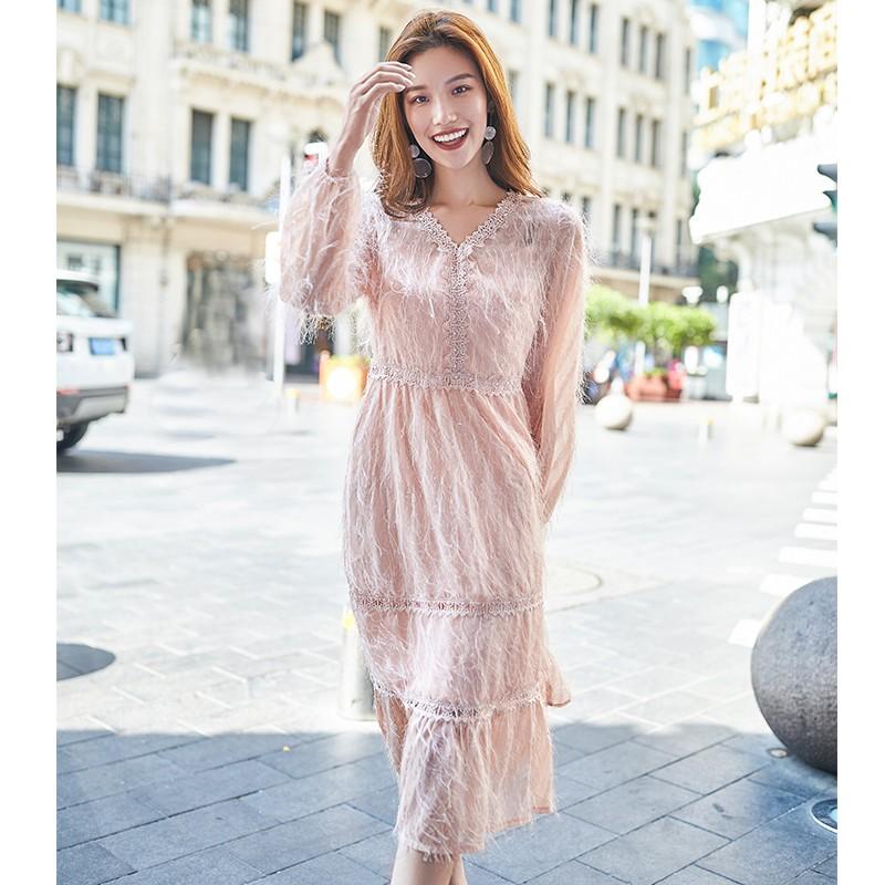 金苑女装2019秋新款蕾丝流苏中裙优雅甜美气质仙纯色连衣裙G931225