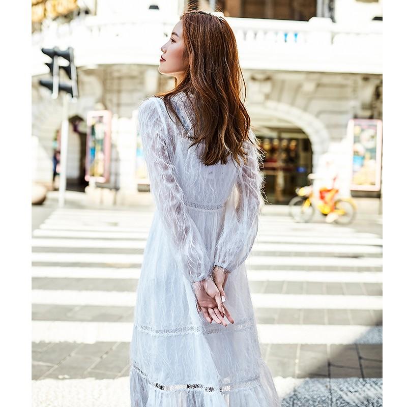 金苑女装2019秋新款蕾丝流苏中裙优雅甜美气质仙纯色连衣裙G931224