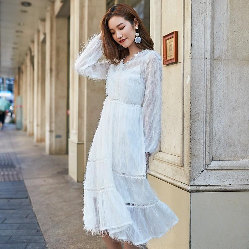金苑女装2019秋新款蕾丝流苏中裙优雅甜美气质仙纯色连衣裙G931226