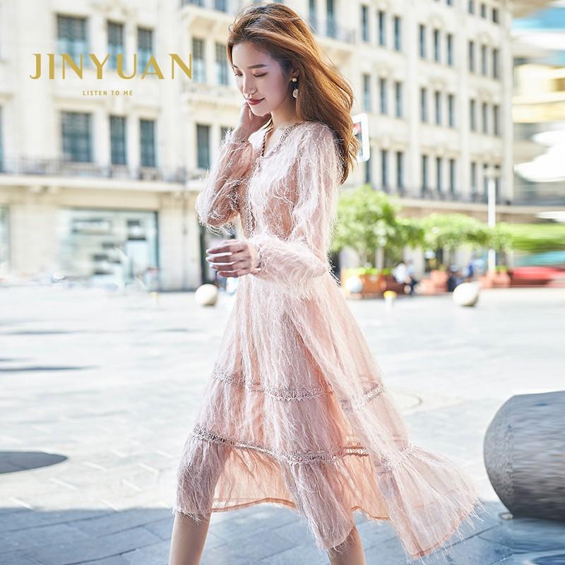 金苑女装2019秋新款蕾丝流苏中裙优雅甜美气质仙纯色连衣裙G931221