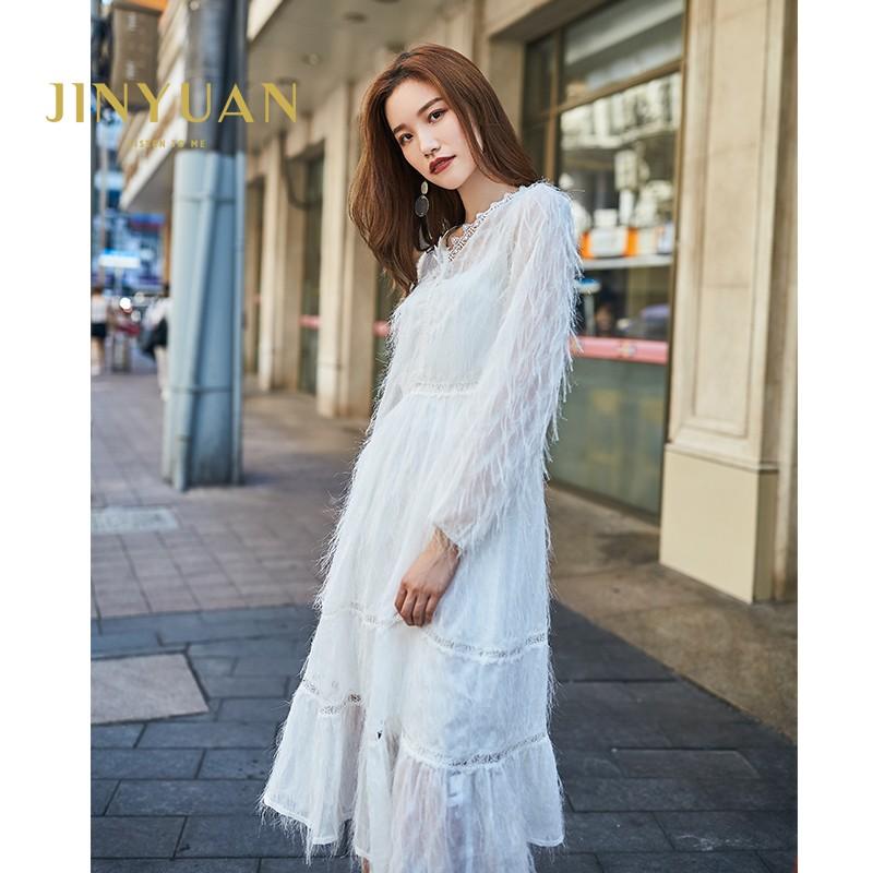 金苑女装2019秋新款蕾丝流苏中裙优雅甜美气质仙纯色连衣裙G931222