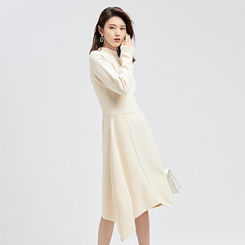 金苑连衣裙2019冬装新款不规则中裙气质减龄收腰针织连衣裙G951015