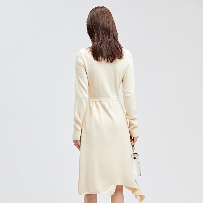金苑连衣裙2019冬装新款不规则中裙气质减龄收腰针织连衣裙G951014
