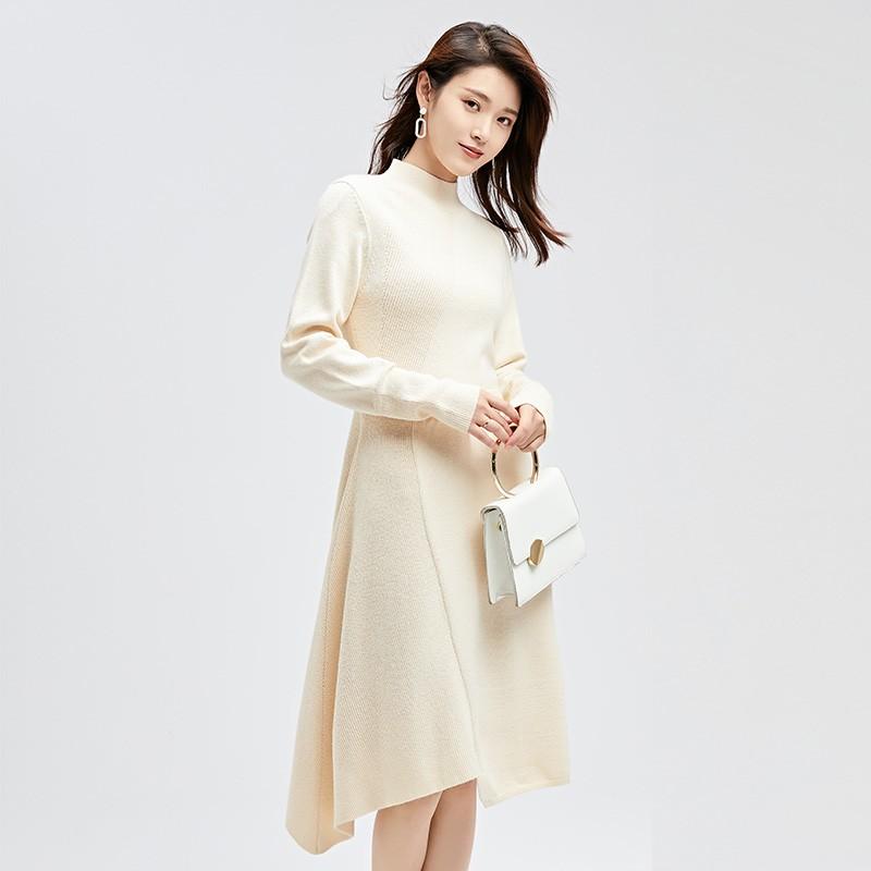 金苑连衣裙2019冬装新款不规则中裙气质减龄收腰针织连衣裙G951012