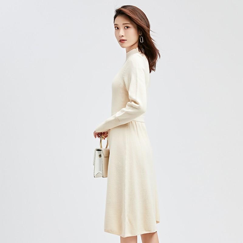 金苑连衣裙2019冬装新款不规则中裙气质减龄收腰针织连衣裙G951013