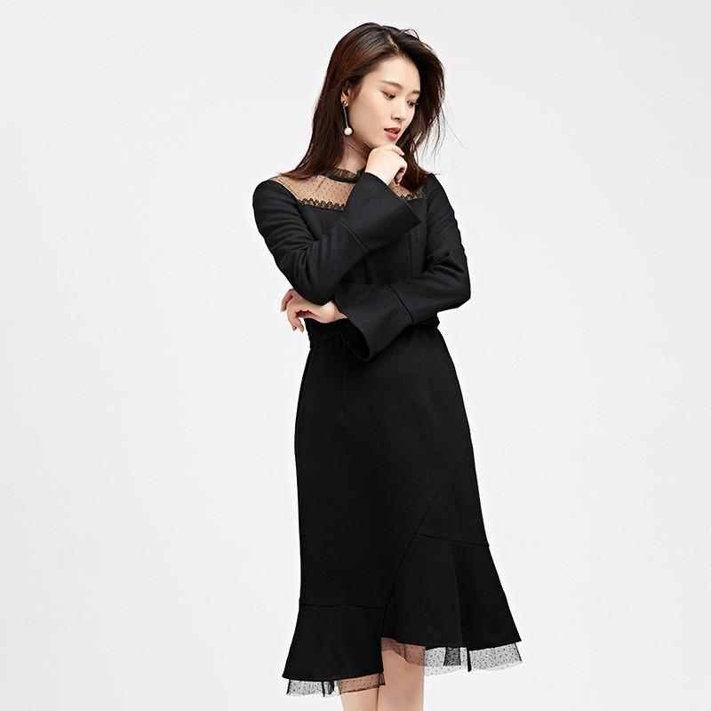 金苑连衣裙2019冬装新款蕾丝连衣裙拼接优雅气质黑色连衣裙G951095