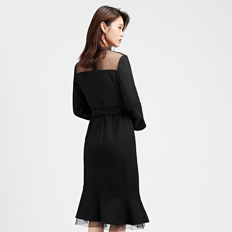 金苑连衣裙2019冬装新款蕾丝连衣裙拼接优雅气质黑色连衣裙G951094