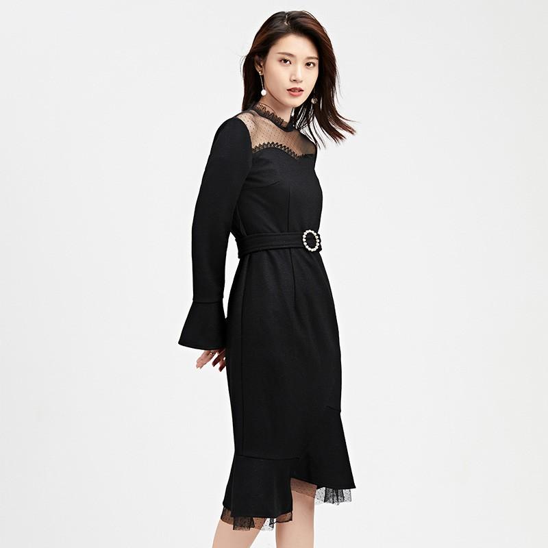 金苑连衣裙2019冬装新款蕾丝连衣裙拼接优雅气质黑色连衣裙G951093