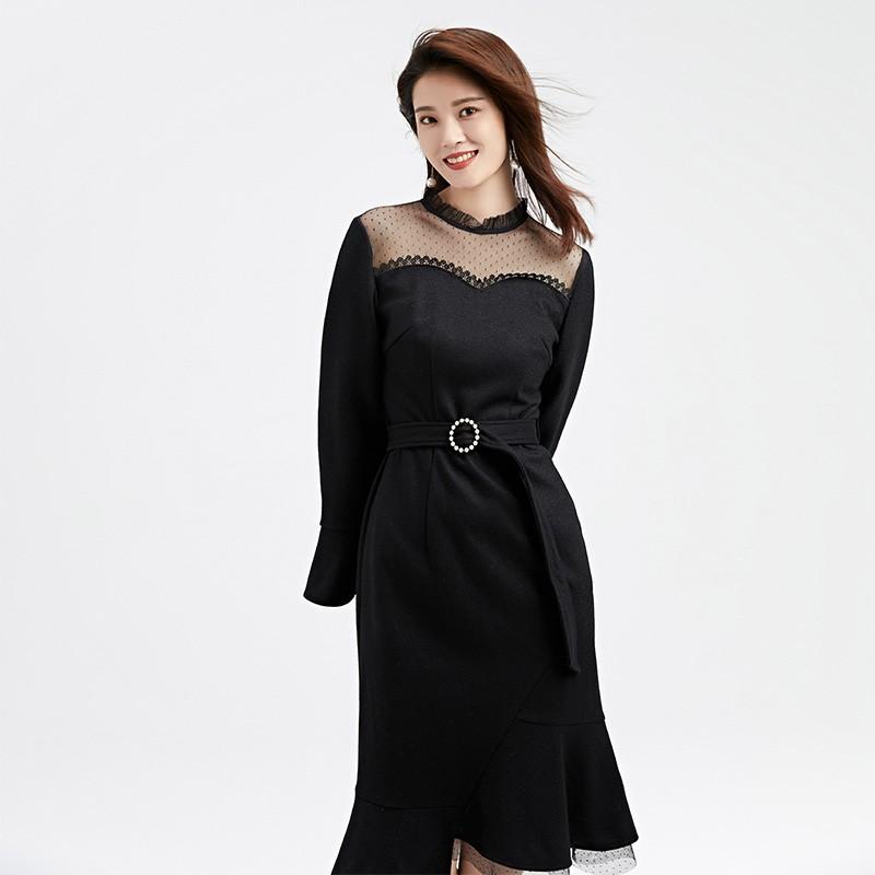 金苑连衣裙2019冬装新款蕾丝连衣裙拼接优雅气质黑色连衣裙G951092