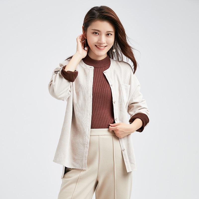 金苑女装2019冬装新款小清新上衣纯色减龄外穿韩版显瘦衬衫A951012