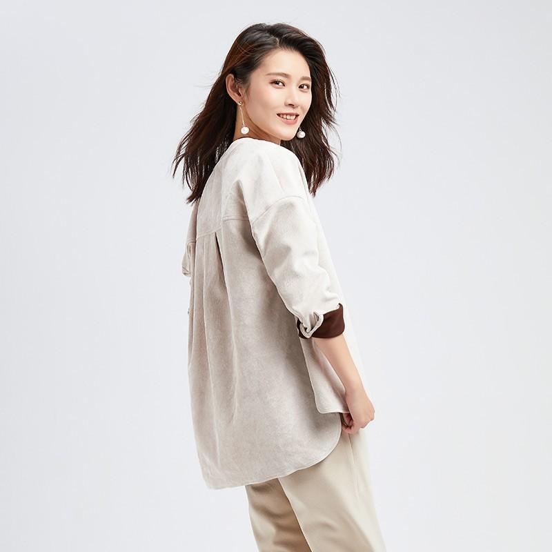 金苑女装2019冬装新款小清新上衣纯色减龄外穿韩版显瘦衬衫A951013