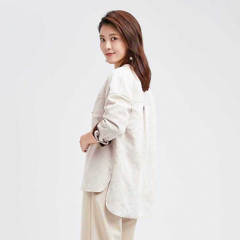 金苑女装2019冬装新款小清新上衣纯色减龄外穿韩版显瘦衬衫A951014