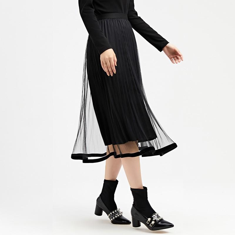 金苑女装2019冬装新款半身裙黑色中长款A字蕾丝网纱百褶裙B959015