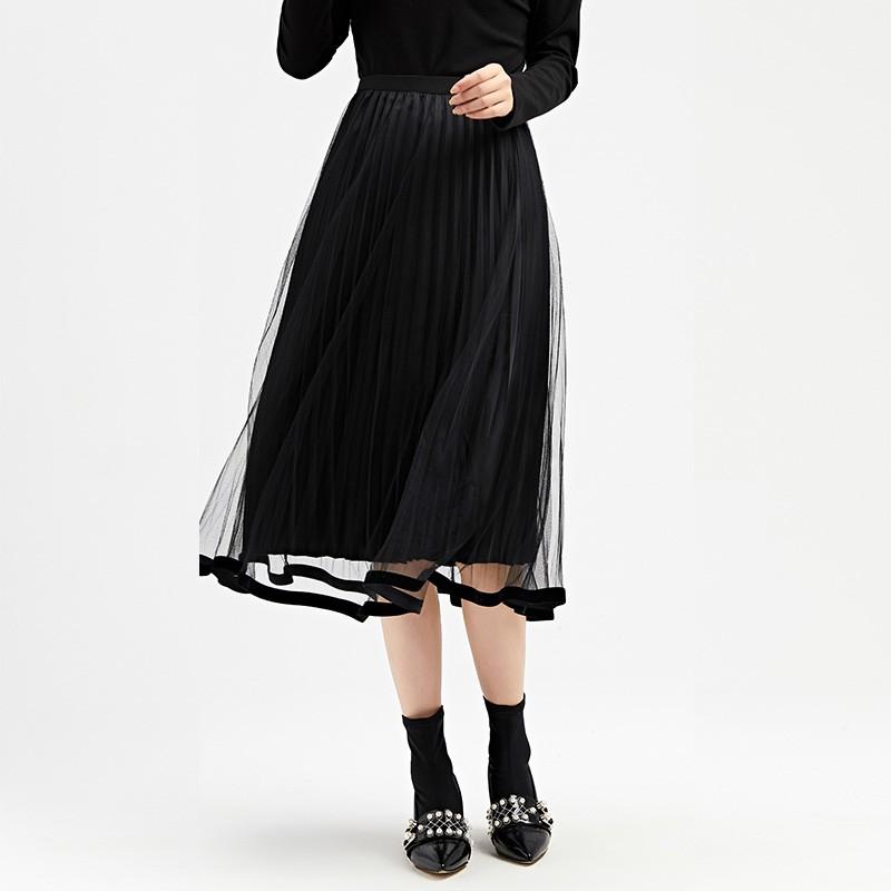 金苑女装2019冬装新款半身裙黑色中长款A字蕾丝网纱百褶裙B959012