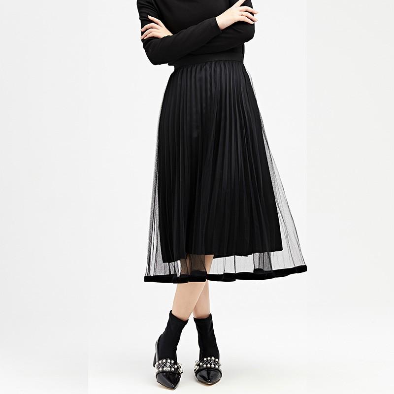 金苑女装2019冬装新款半身裙黑色中长款A字蕾丝网纱百褶裙B959014