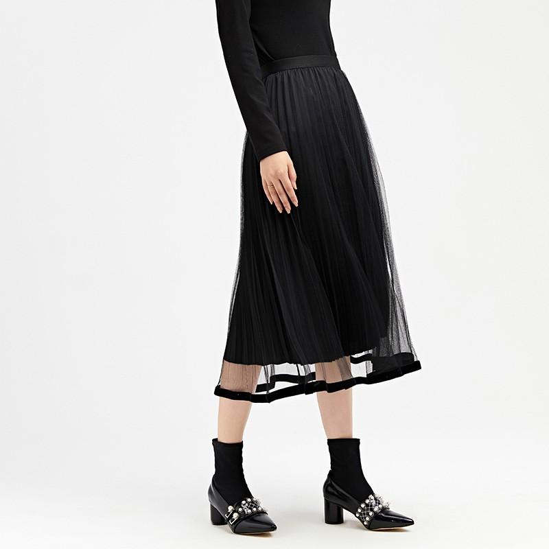 金苑女装2019冬装新款半身裙黑色中长款A字蕾丝网纱百褶裙B959013