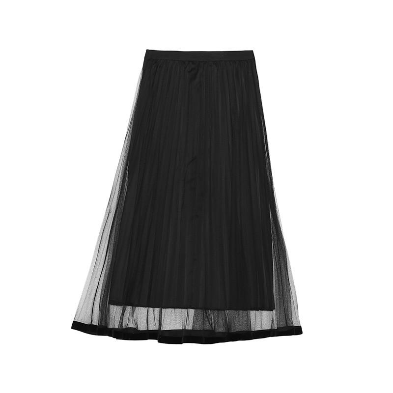 金苑女装2019冬装新款半身裙黑色中长款A字蕾丝网纱百褶裙B959016