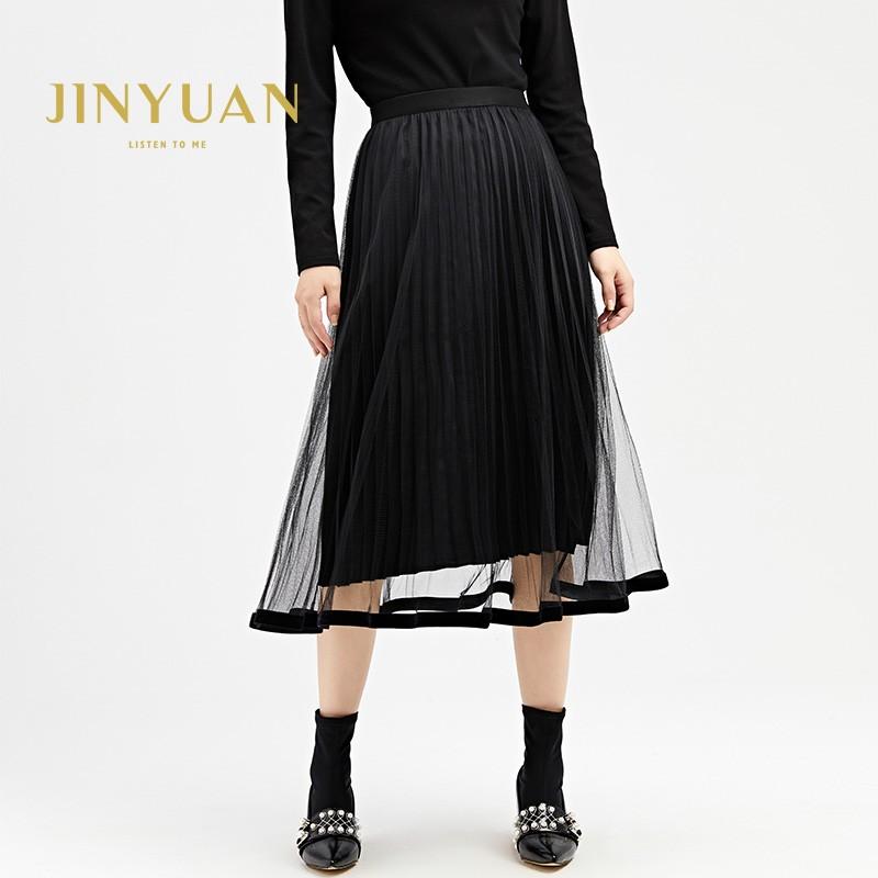 金苑女装2019冬装新款半身裙黑色中长款A字蕾丝网纱百褶裙B959011