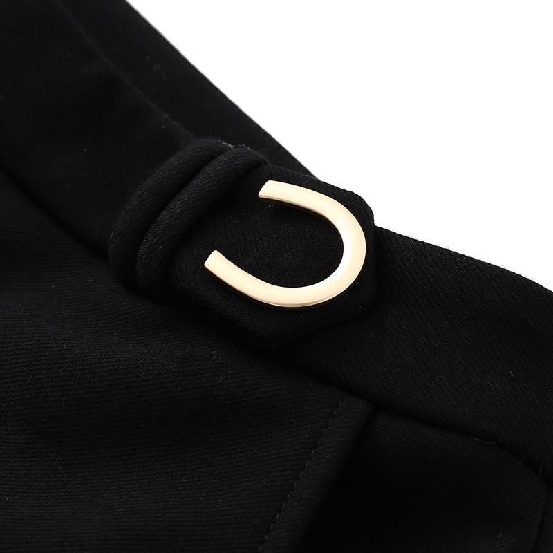 金苑女装休闲裤冬装2019新款黑色休闲微喇裤显瘦高腰休闲裤C951076