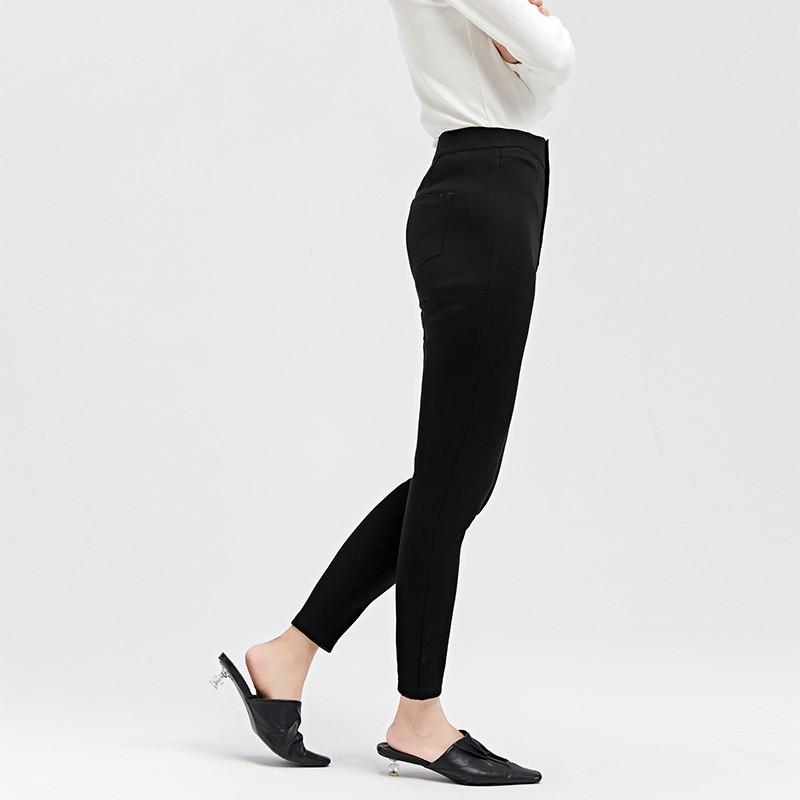 金苑冬装2019新款女装黑色休闲裤高腰韩版黑色铅笔裤休闲裤C959013