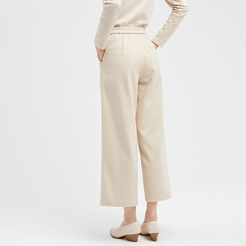 金苑冬装设计师款2019新款女装休闲裤显瘦减龄阔腿九分裤C959024