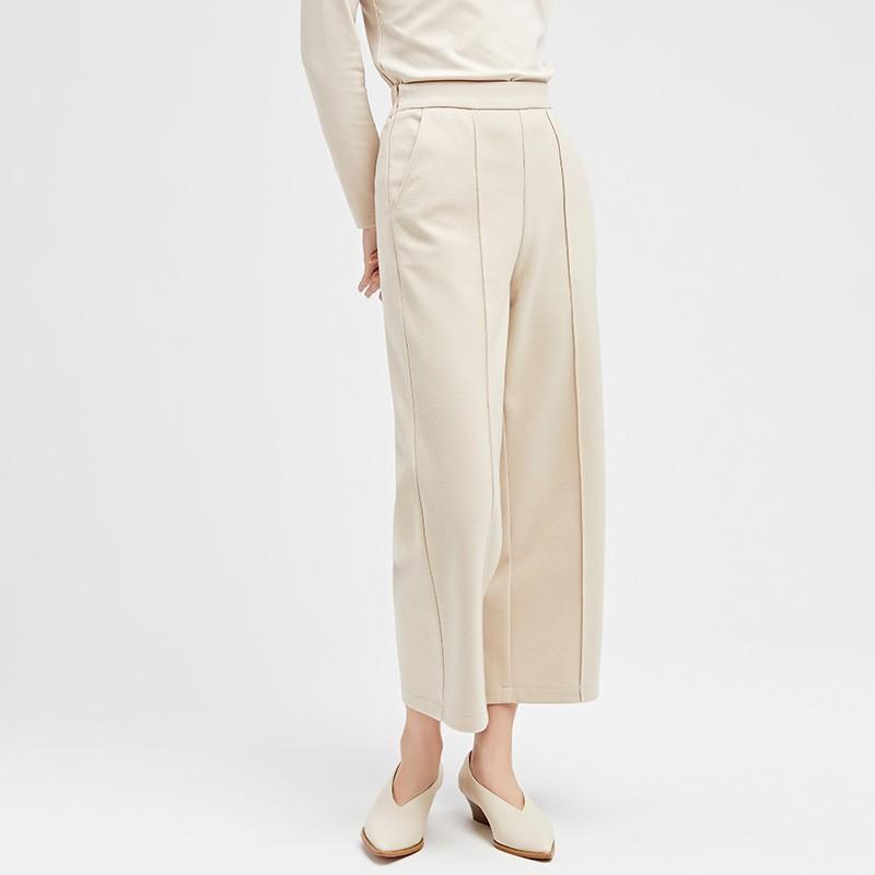 金苑冬装设计师款2019新款女装休闲裤显瘦减龄阔腿九分裤C959022