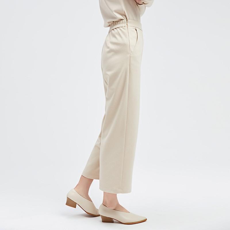 金苑冬装设计师款2019新款女装休闲裤显瘦减龄阔腿九分裤C959025