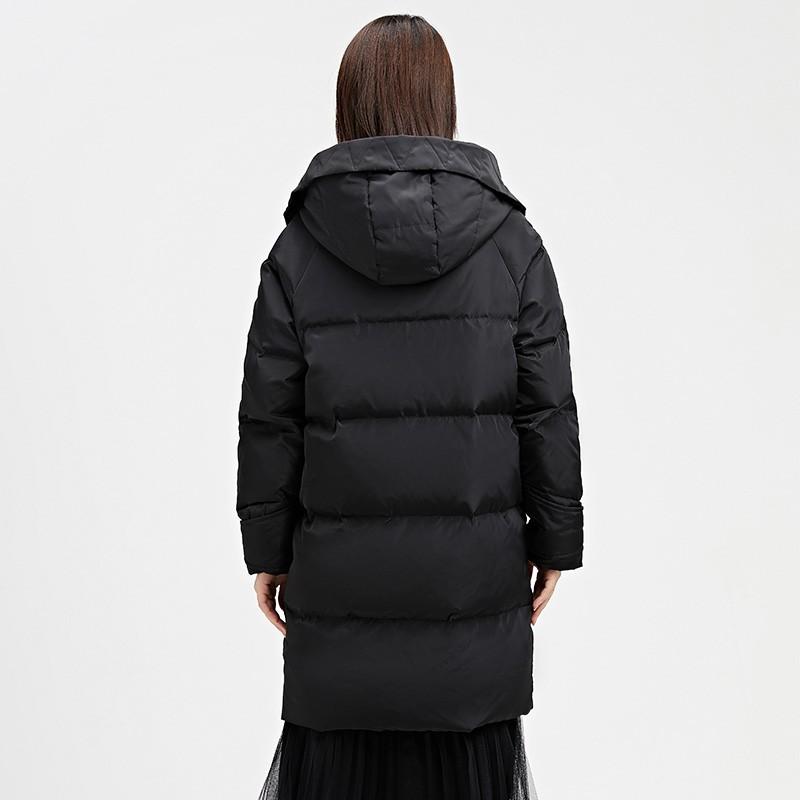 金苑女装羽绒服2019冬装新款黑色外套中长款连帽收腰羽绒服J959023
