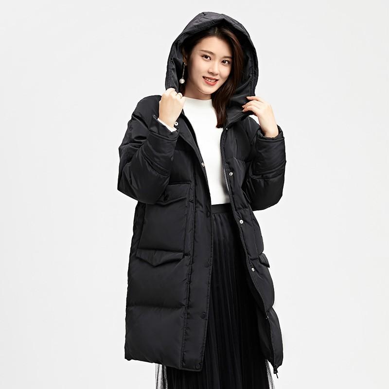 金苑女装羽绒服2019冬装新款黑色外套中长款连帽收腰羽绒服J959024