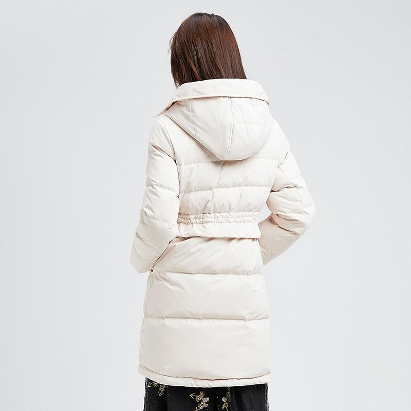 金苑冬装新款2019女装设计师白鸭绒外套保暖连帽收腰羽绒服J959014