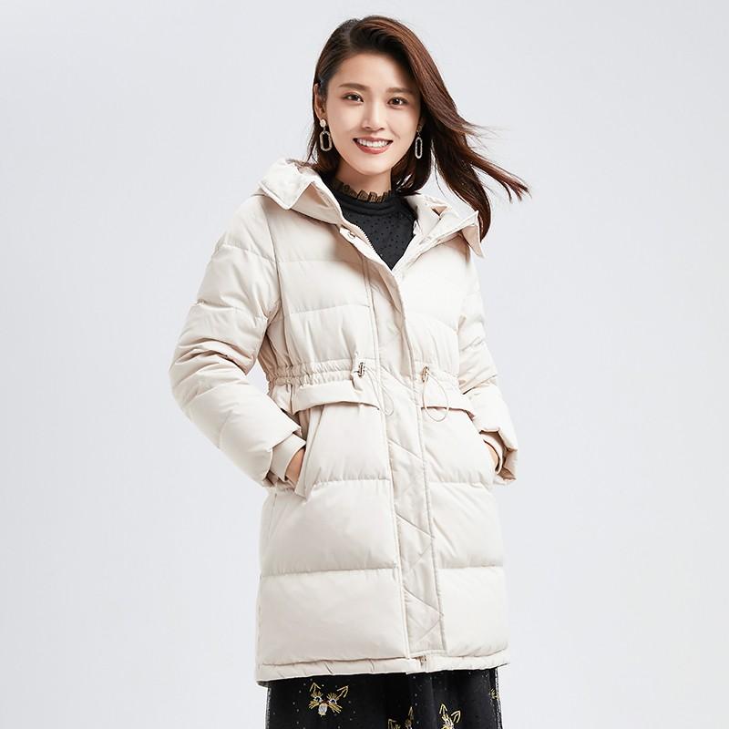 金苑冬装新款2019女装设计师白鸭绒外套保暖连帽收腰羽绒服J959011