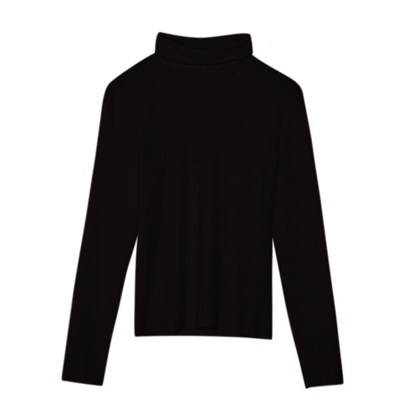 金苑女装2019冬装新款打底上衣纯色半高领基础外穿长袖上衣F959019