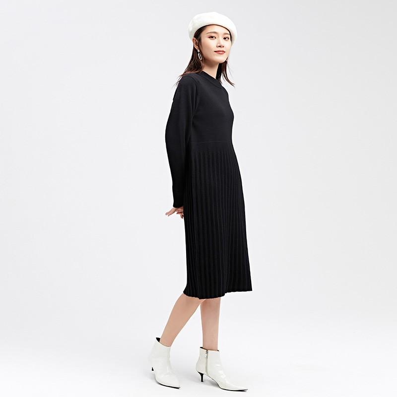 金苑2019冬装新款设计师黑色针织裙韩版显瘦通勤简约连衣裙G959012