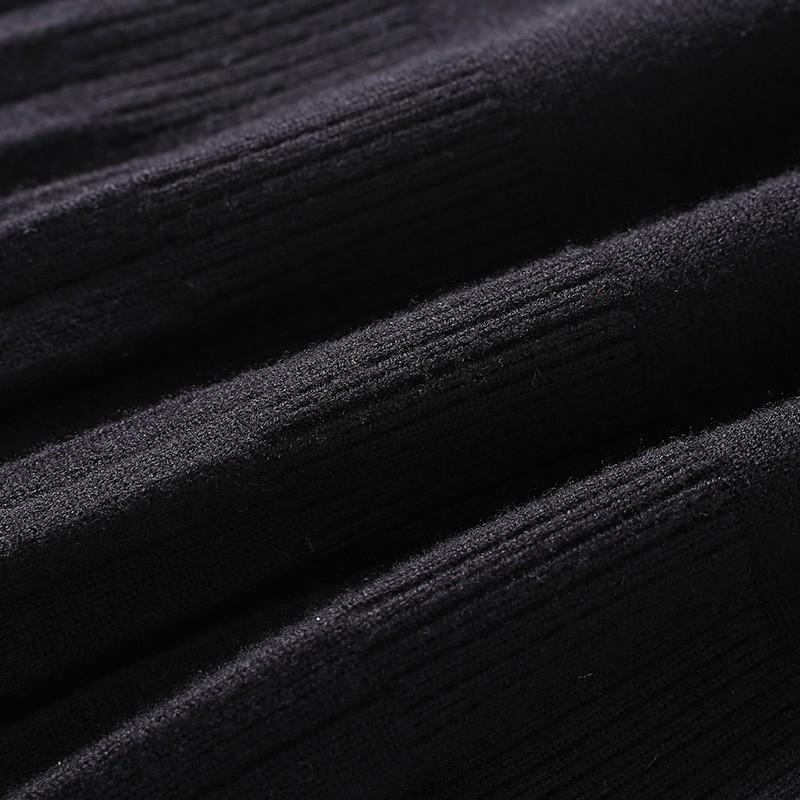 金苑2019冬装新款设计师黑色针织裙韩版显瘦通勤简约连衣裙G959016