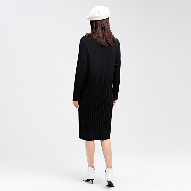 金苑2019冬装新款设计师黑色针织裙韩版显瘦通勤简约连衣裙G959014