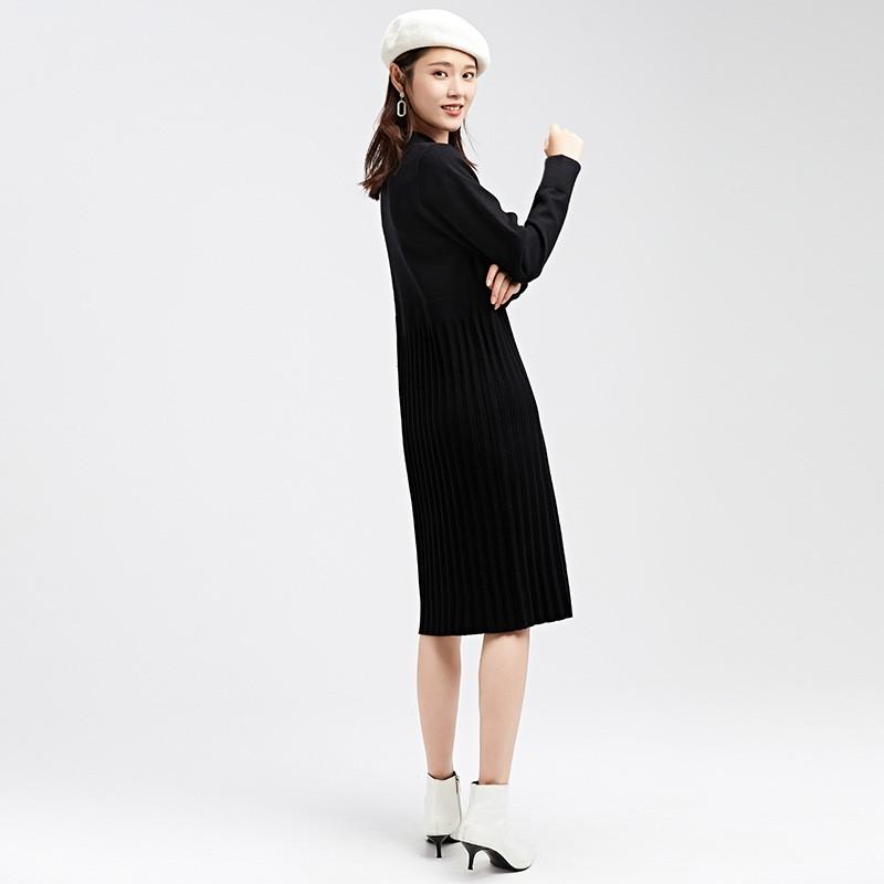 金苑2019冬装新款设计师黑色针织裙韩版显瘦通勤简约连衣裙G959013