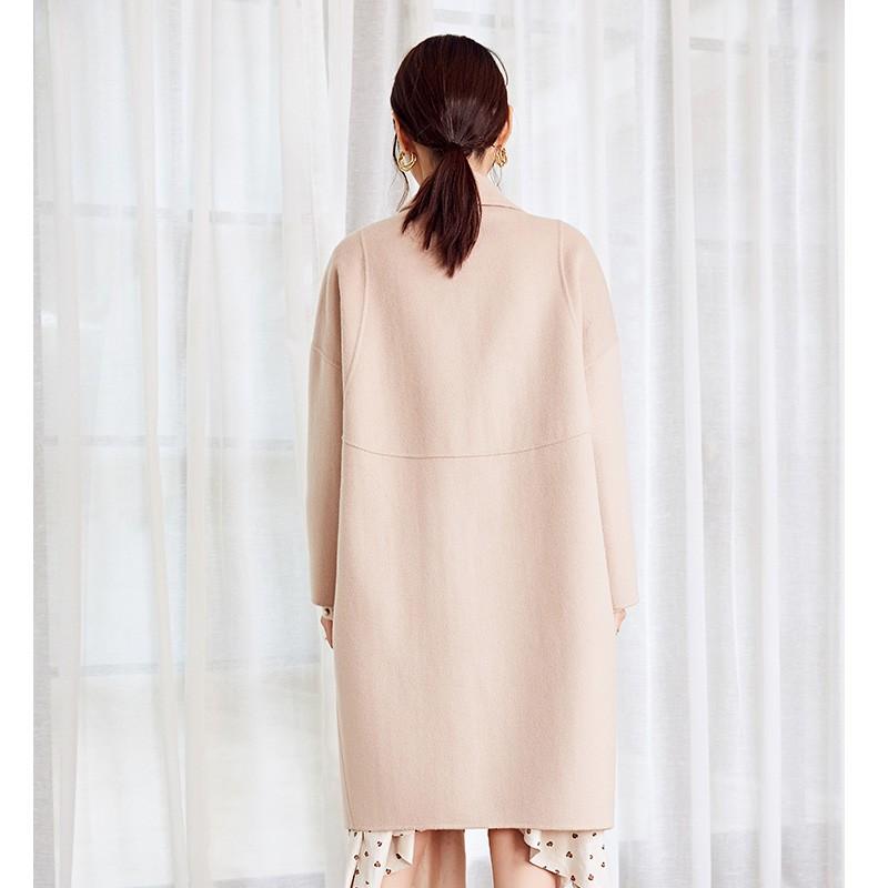 金苑冬装2019新款女装双面呢大衣优雅气质中长款羊毛呢外套E959014