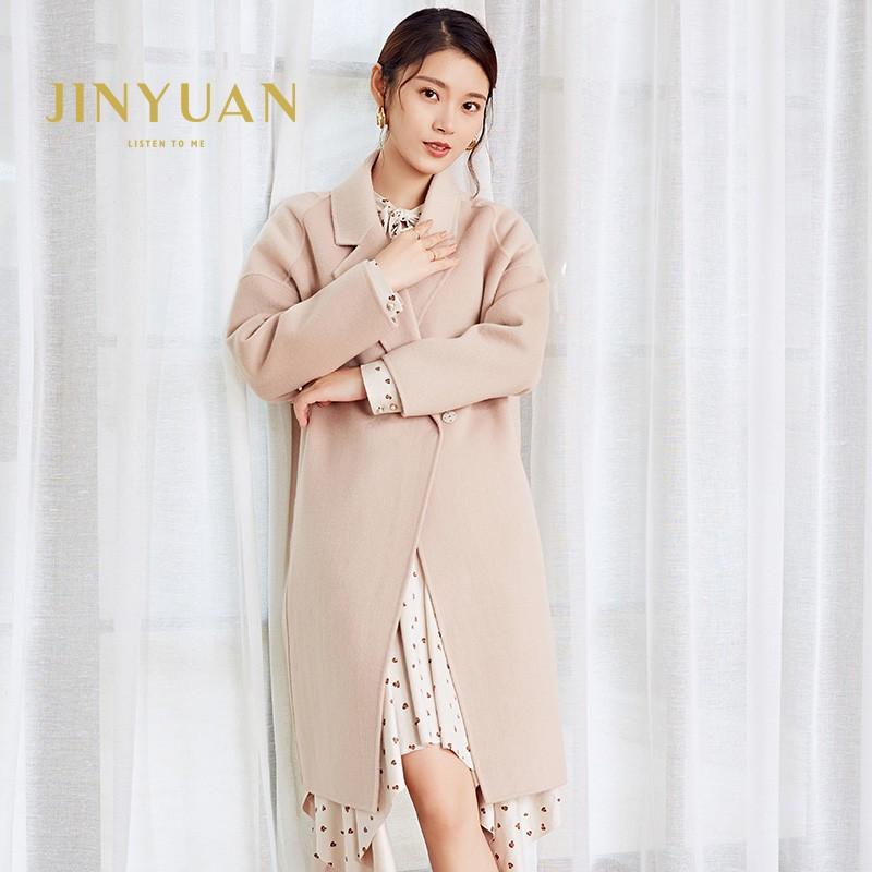 金苑冬装2019新款女装双面呢大衣优雅气质中长款羊毛呢外套E959011