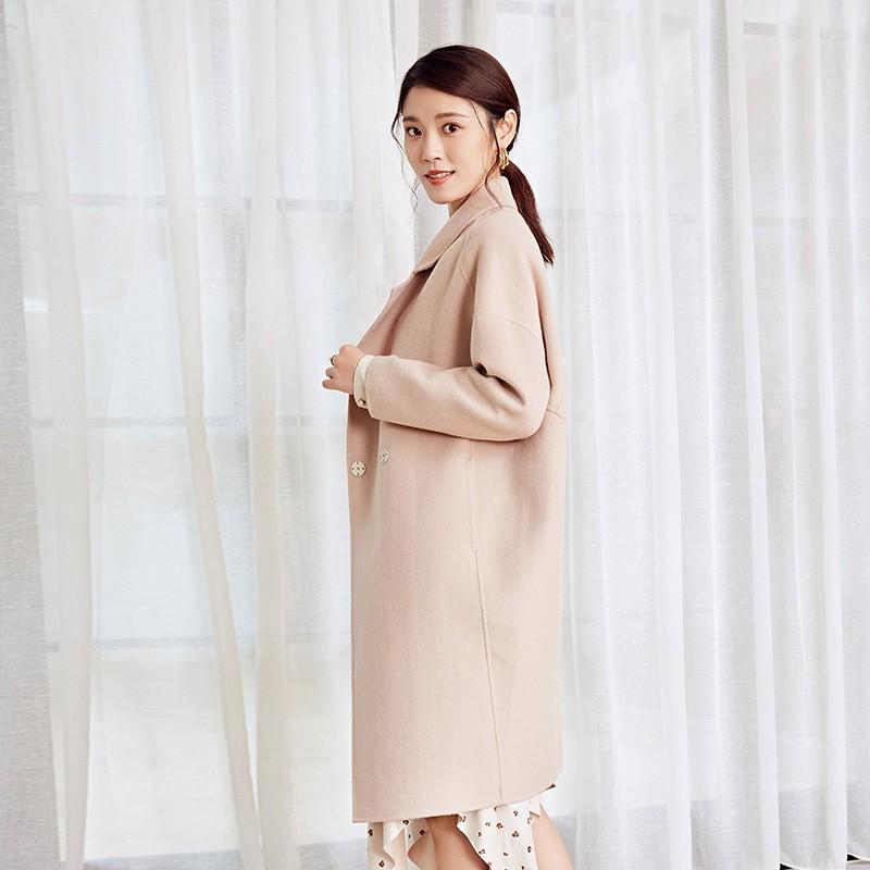 金苑冬装2019新款女装双面呢大衣优雅气质中长款羊毛呢外套E959013