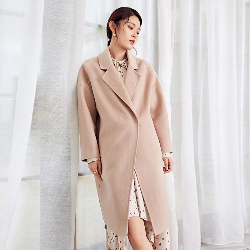 金苑冬装2019新款女装双面呢大衣优雅气质中长款羊毛呢外套E959012