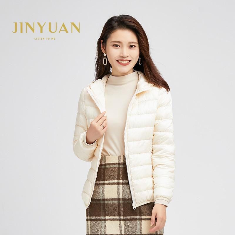 金苑羽绒服女2019冬季新款韩版轻薄连帽短款外套小个子棉服J951221