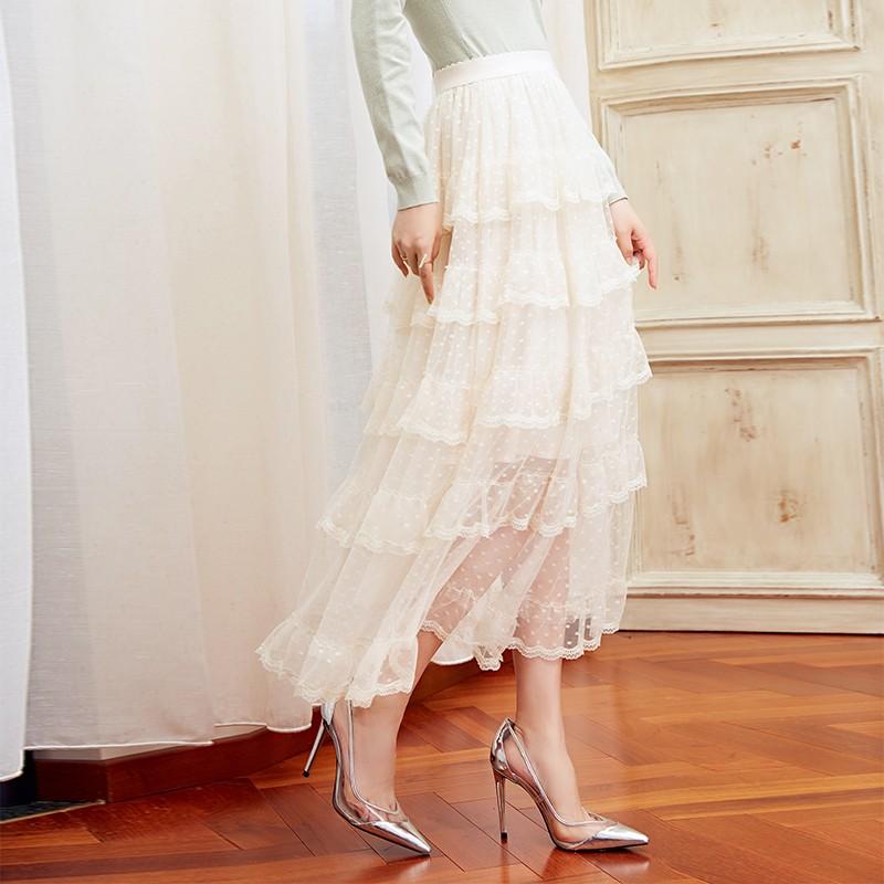 金苑女装2019冬装新款蛋糕裙蕾丝网纱拼接中长款高腰半身裙B951078