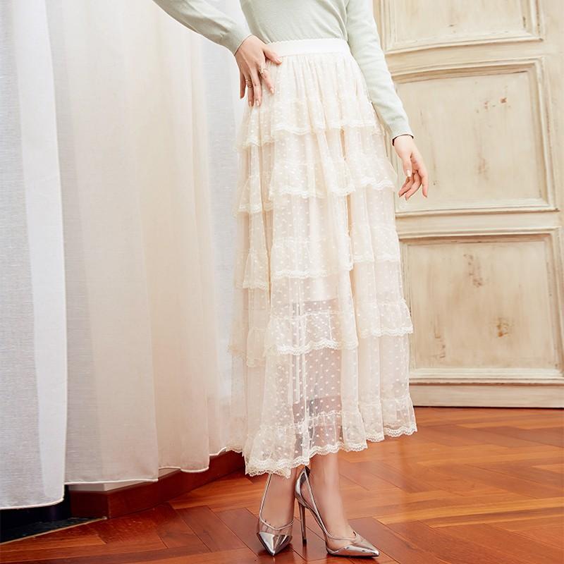 金苑女装2019冬装新款蛋糕裙蕾丝网纱拼接中长款高腰半身裙B951079